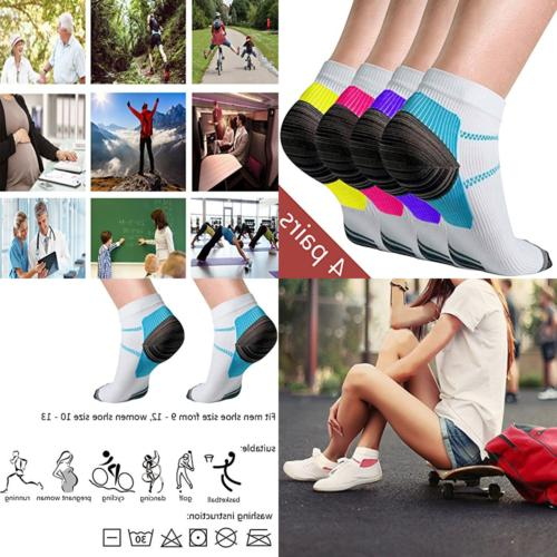 4 pairs compression ankle socks for women