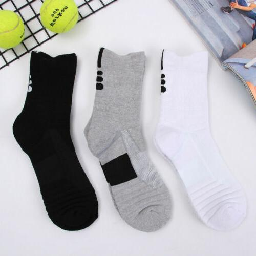 5Pairs Basketball Crew Sport Middle Ankle Socks US