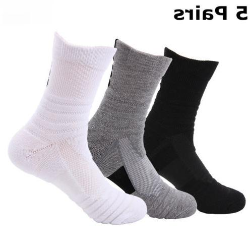 Elite Basketball Socks 5 Pack Dri-Fit Athletic Crew Sport Mi