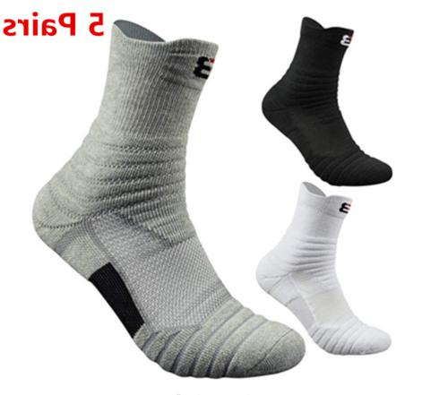 5pairs basketball socks athletic crew sport middle