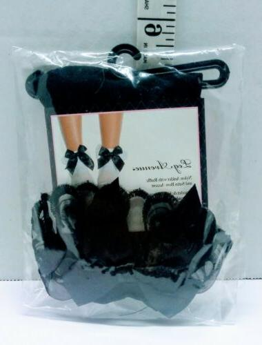 Leg Avenue Anklets With Lace Ruffle & Satin Bow 3029 Black O