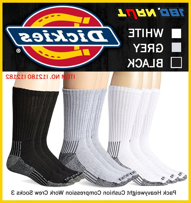 Dickies Men 3 Pack Heavyweight Cushion Crew Ankle Arch Compr