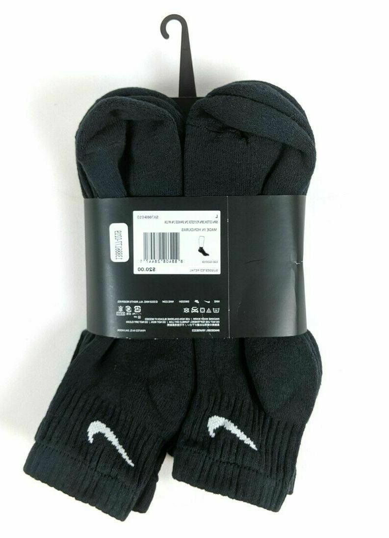 NIKE Mens PACK BLACK COTTON ANKLE SOCKS 8-12