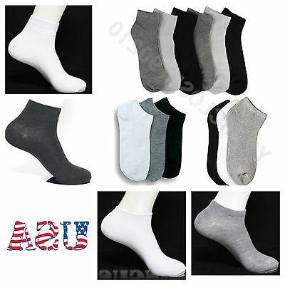 Mens Soft Ankle Socks White Black