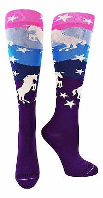 MadSportsStuff Neon Unicorn Over The Calf Socks
