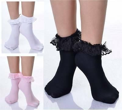 Ruffled Lace Top Ankle High Socks Nylon Frilly Trim Anklet L