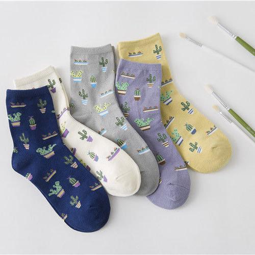 Women Girls Cotton Socks Ankle Socks Creative Cactus Print M
