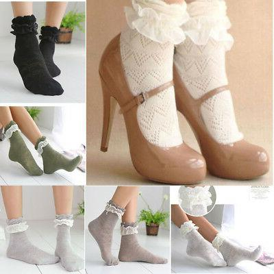 Women Girls Lace Ankle Socks Bow Thin Cotton High Socks Midd