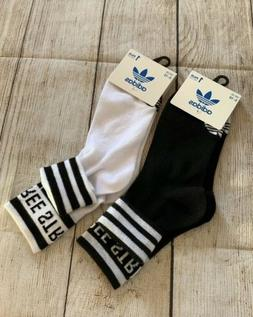 Lot Adidas Originals Women's 3-Stripe Fold Ankle Sock 2 Pair