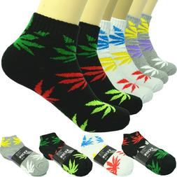 Marijuana 3 Pairs For Men Ankle Quarter Crew Socks Cotton Lo