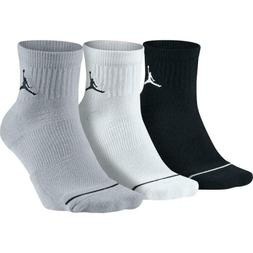 Nike Men's Air Jordan Jumpman Quarter Socks 3 Pair Black/Whi