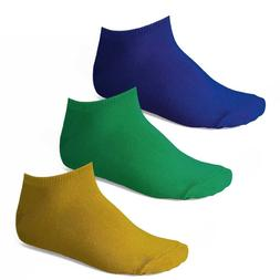 Men's Ankle Socks, 3-Pack: Royal Blue, Kelly Green, and Gold