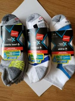 Hanes Men's Socks Crew Liner Low Cut Ankle X-Temp Assorted 4
