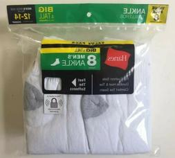 Hanes Men's White Ankle Socks 8 Pairs Size 12-14 Big & Tall