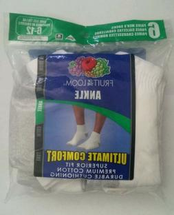 FRUIT OF THE LOOM Mens 6 pack Ankle Socks WHITE Size 6-12