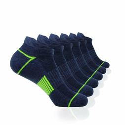 Mens Athletic Low Cut Ankle Tab Socks 6 Pack Cushioned Breat