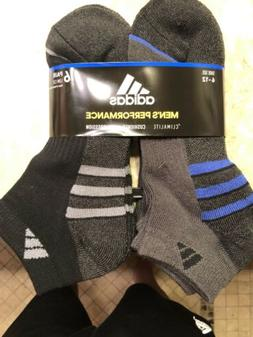 Adidas mens climalite low cut 6 pack socks black/blue/grey 6