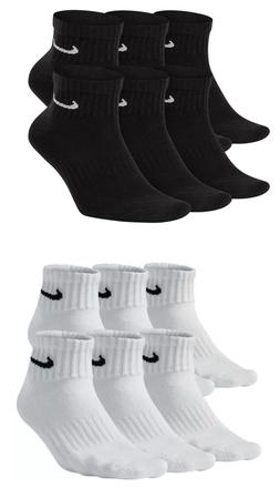 Mens Nike Cotton Quarter Socks 6 pairs Size Large Black Whit