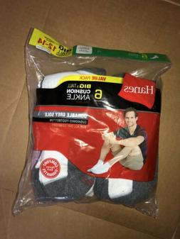 Hanes Mens Cushioned Ankle Socks Big & Tall Shoe Size 12-14