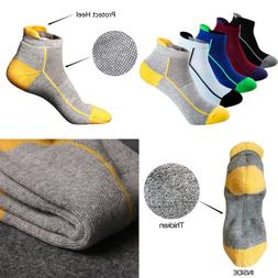 Mens Low Cut Ankle Athletic Socks Cotton Mesh Cushioned Runn