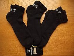 Mens NWT UNDER ARMOUR Quarter Ankle Socks 3prs Black Charged