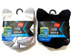 Hanes X-Temp Mens Ankle Socks Comfort Cool Large 6-Pairs Bla