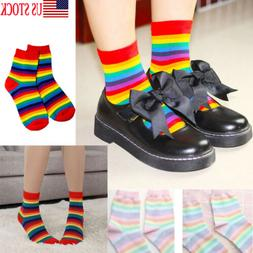 Multi-Colors Lady Women's Winter Warm Rainbow Cotton Ankle-H