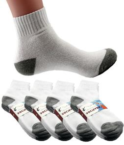 New Mens 6 Pairs Sports White Gray Ankle Quarter Crew Socks