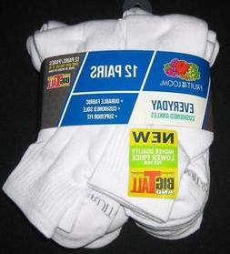 NEW FRUIT OF THE LOOM MENS ANKLE SOCKS 12 Pairs Soft White 1