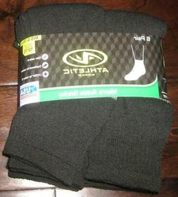 NEW ATHLETIC WORKS MENS ANKLE SOCKS 6 Pairs Soft Black 12-15