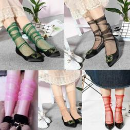 New Women Transparent Mesh Thin Ankle Socks Short Hosiery Ch
