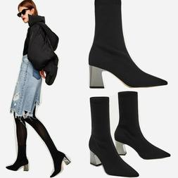 New Womens Fashion Black Ankle Boots Block Heels Zip Up Sock