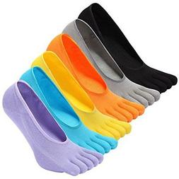 NO Show Running Five Fingers Crew Ankle Toe Socks for Women