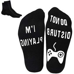 Novelty Funny Socks 2 Pairs Do Not Disturb I'm Playing Cotto