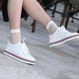 Pair of White Fishnet Net Ankle Socks, Short Sock Fashion Ho
