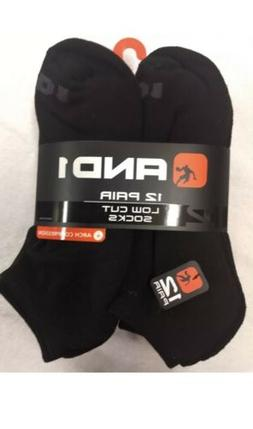 AND1 Performance Low-Cut Ankle Socks, 12 Pair, Black Size 6-