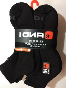 AND1 Performance Quarter Cut Ankle Socks, 12 Pair, Black Siz