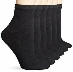 Plus Size 6pk Fruit of the Loom Women's Socks Cushioned Blac