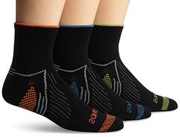 Saucony Men's 3 Pack River Quarter Socks, Black/Multi, Large