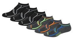 Saucony Men's 6 Pack Performance No-Show Socks Grey/Black As