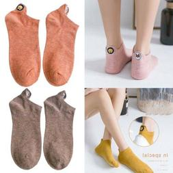 Women Ankle Socks Kawaii Embroidered Expression Happy Funny