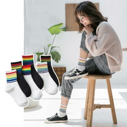 Women Cotton Sport Rainbow Striped Ankle High Socks Hosiery