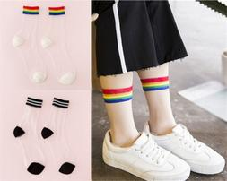 Women Fashion Transparent Socks Sheer Crystal Cute Rainbow S