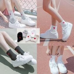 Women Men Red Heart Love Pattern Soft Breathable Ankle-High