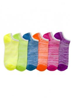 Women No Show Low cut Ankle Socks Neon HEATHER Spandex Schoo