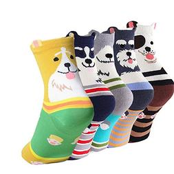 Women's Animal Cotton Socks Cute Dog Printed Crew Ankle Funn