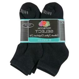 Fruit of the Loom Women's Ankle Socks - 6-Pack - Black - Sho
