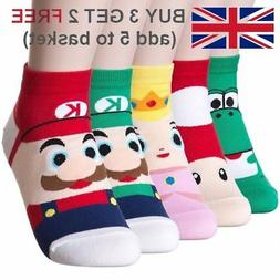 Super Mario Quarter Ankle Trainer Socks Fashion Cute Fun Ca