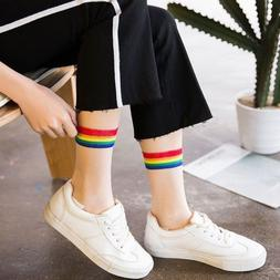 Women Transparent Cute Rainbow Ankle Socks Summer Fashion Th