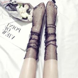 Women Transparent Ultrathin Sheer Mesh Ankle Hosiery Glitter